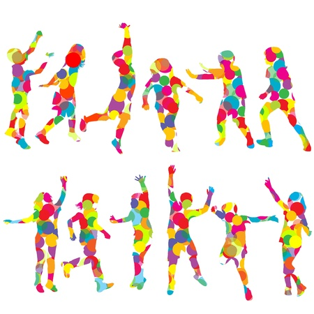 Set of children silhouettes in colored circles