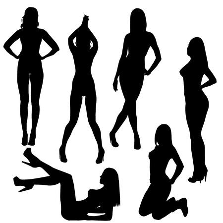 femmes nues sexy: Ensemble de silhouettes de femmes nues sexy Illustration