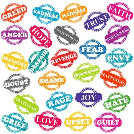 Conjunto de sellos con las emociones positivas y negativas