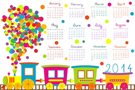 2014 calendar with cartoon train  Vector