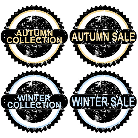 Autumn sale and winter sale rubber stamps Vector