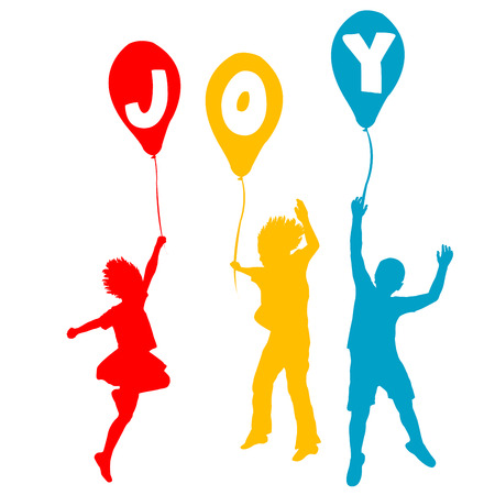Children holding balloons with Joy message  Vector