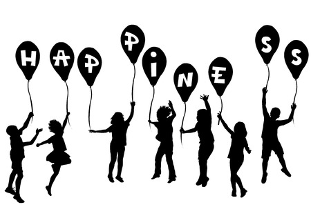 Children silhouettes holding balloons with Happiness