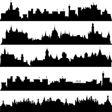 Cities and castles silhouettes Vector