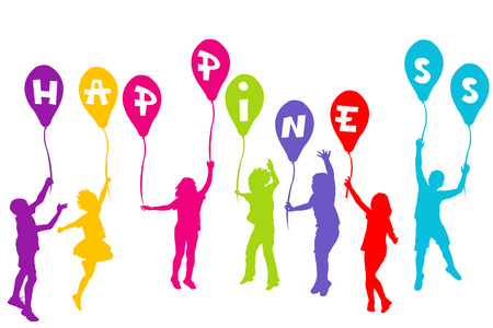 Colored children silhouettes holding balloons with Happiness Vector