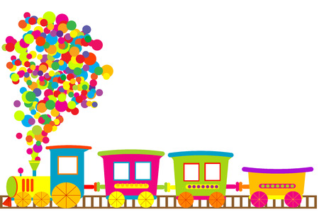 cartoon little girl: Colored toy train