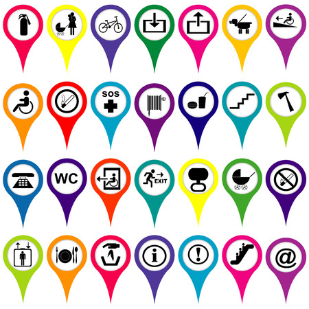 Map markers with international service signs, colorful set Vector