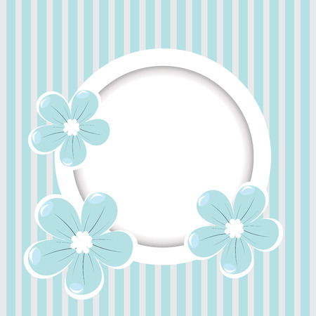 Retro striped background with frame and blue flowers  Vector