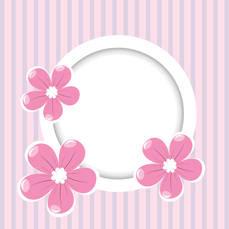 Retro striped background with frame for your text and flowers  Vector