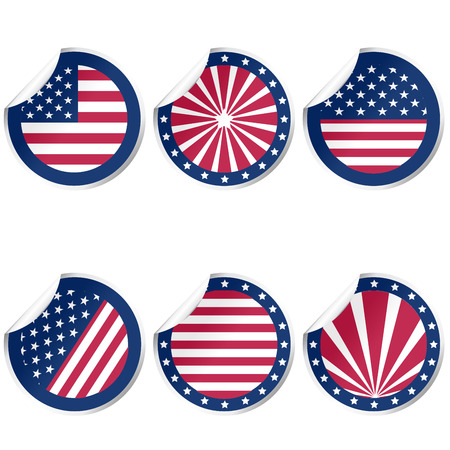 Round stickers with USA flag Vector