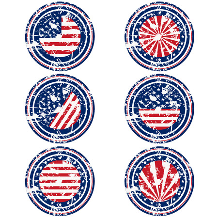 Rubber stamps with USA flag Vector