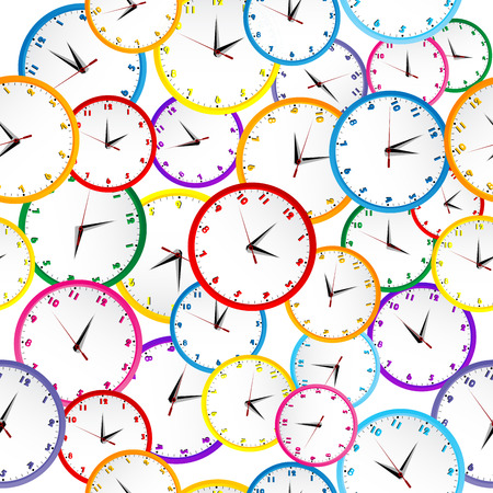 Seamless pattern with colorful clocks  Vector