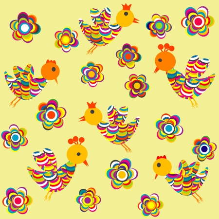 Stylized birds and flowers background for kids Vector