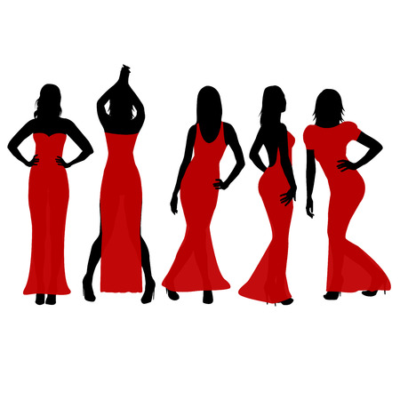 transparent dress: Women silhouettes dancing in red dresses Illustration
