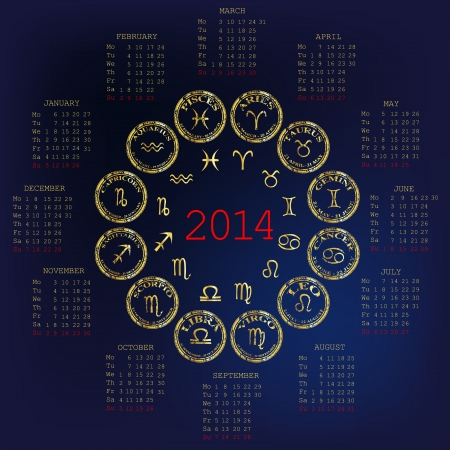 2014 Calendar with horoscope Vector