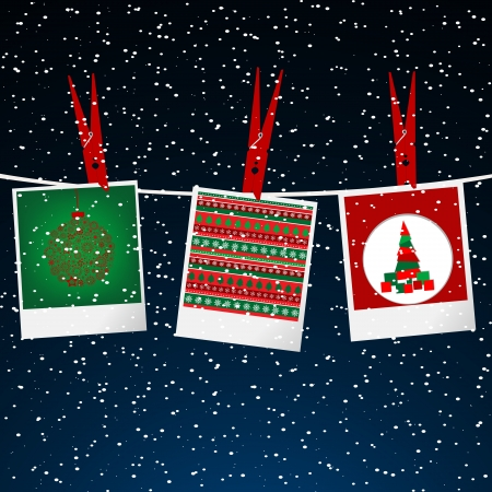 Christmas illustration with photo frame with pegs over snowing sky
