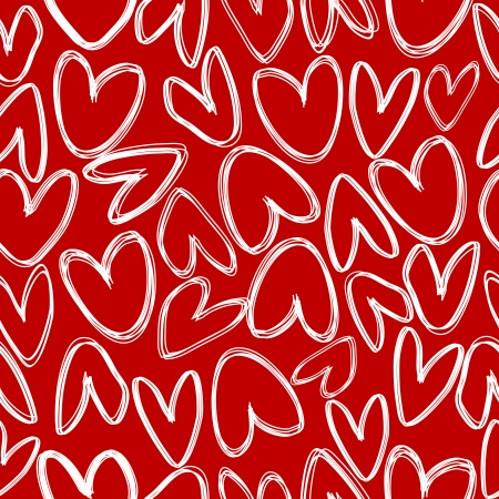 Red seamless with doodle hearts Vector