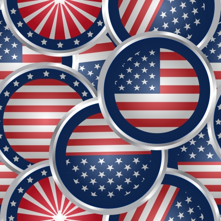 Seamless background with american flag web buttons Vector