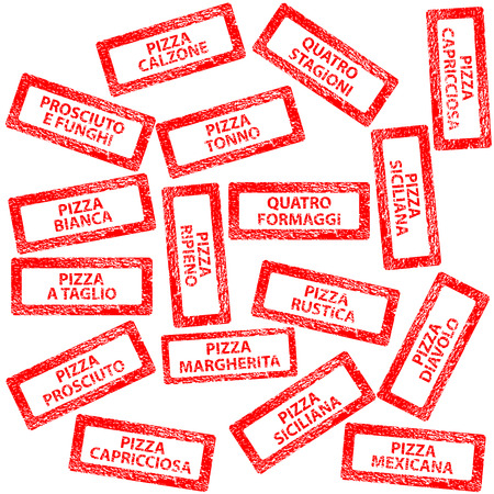 margherita: Restaurant menu, rubber stamps with pizza types