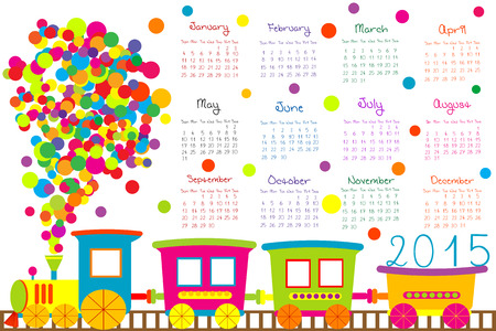 2015 calendar for kids with cartoon train Archivio Fotografico