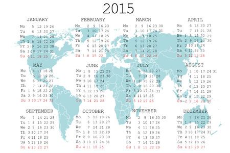 julie: 2015 calendar with world map Stock Photo