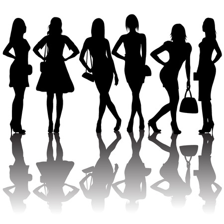 sexy woman silhouette: Fashion silhouettes of women