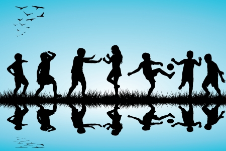 hand movements: Group of children silhouettes playing outdoor near a lake