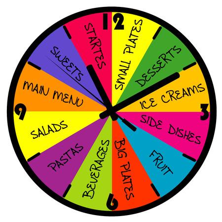 big timer: Restaurant menu in the shape of a clock