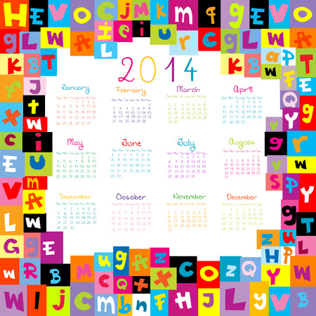 2014 Calendar with letter for schools Vectores
