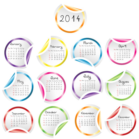 2014 Calendar with round glossy stickers Vector