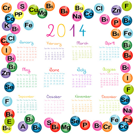 2014 calendar with vitamins and minerals for drugstores and hospitals Vector