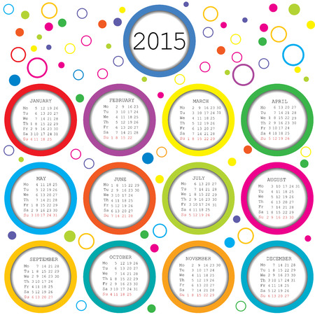 2015 Calendar for kids with colored circles Illustration