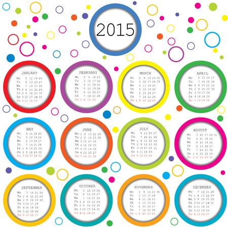 2015 Kalender für Kinder mit farbigen Kreisen