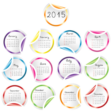 julie: 2015 Calendar with round glossy stickers Illustration