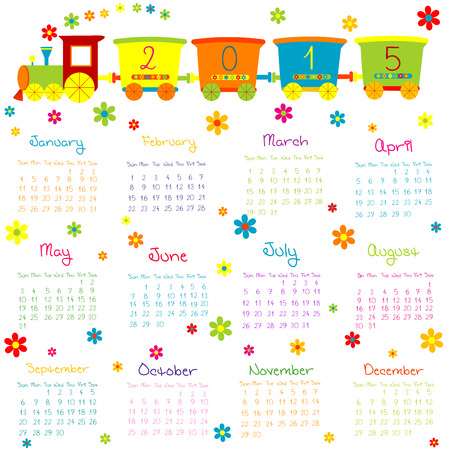 2015 Calendar with toy train and flowers Vector