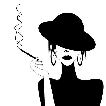 smoking woman: Abstract portrait of a sexy woman smoking Illustration