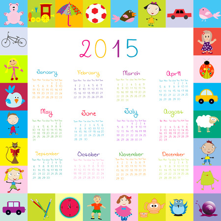 Frame with toys 2015 calandar for kids Vector