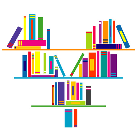 Heart shaped book shelf with books Vector