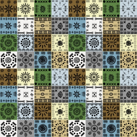 african culture: Tribal ethnic symbols background, seamless pattern