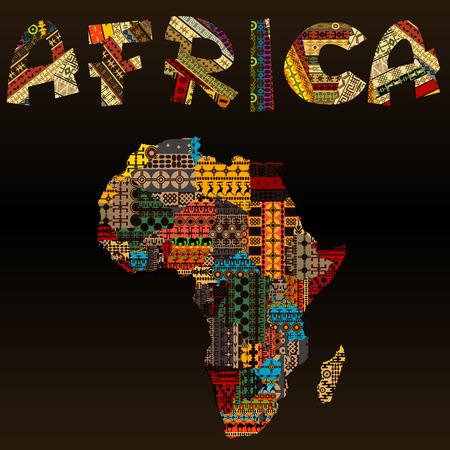 continente africano: Mapa de África con la tipografía africana hecha de tela del remiendo textura