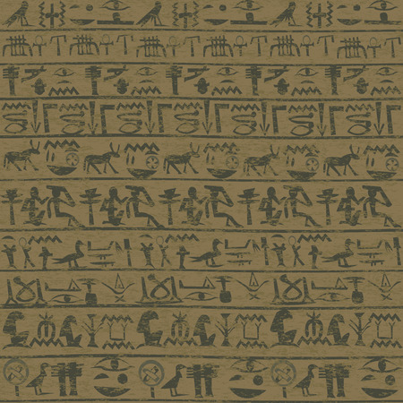 hieroglyphs: Ancient wall with Egyptian hieroglyphs grunge background Illustration