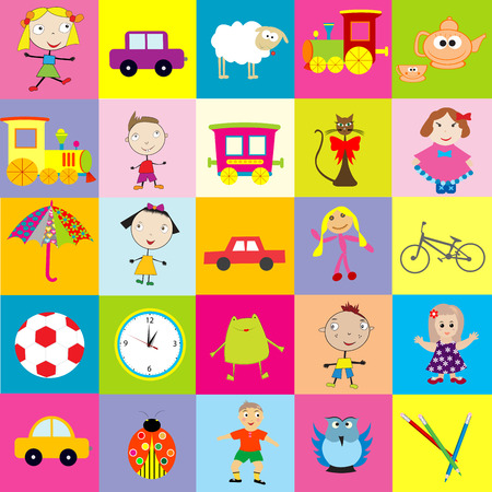 for kids: Background for kids with toys Illustration