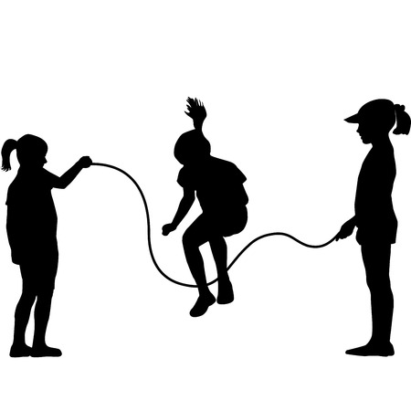 jumping kids: Children silhouettes jumping rope Illustration