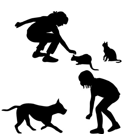 small girl: Children silhouettes playing with pets