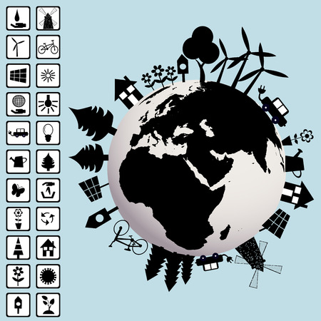 Ecological concept with Earth and environment icons Vector