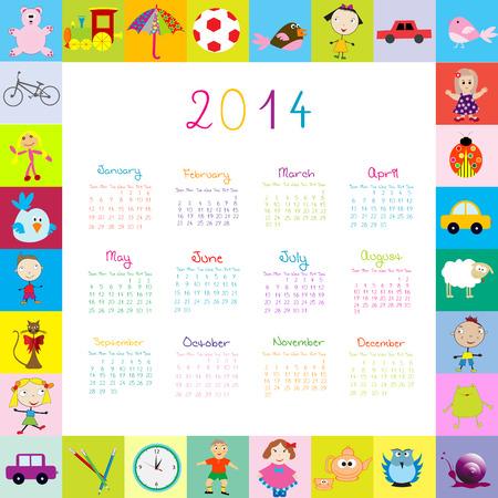 Frame with 2014 calendar with toys Vector