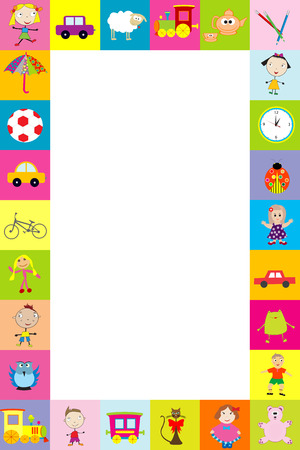 Frame with toys for kids Vector