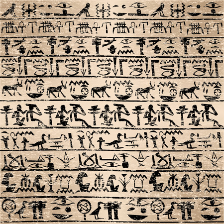 Grunge background with Egyptian hieroglyphs Vector