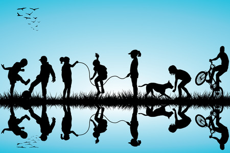 Group of children silhouettes playing Vector