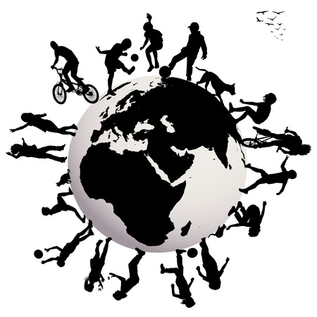 Happy children silhouettes playing over Earth globe Vector